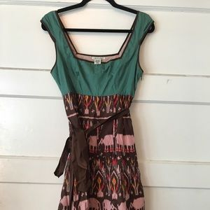 Teal/brown/pink square neck Anthropologie dress